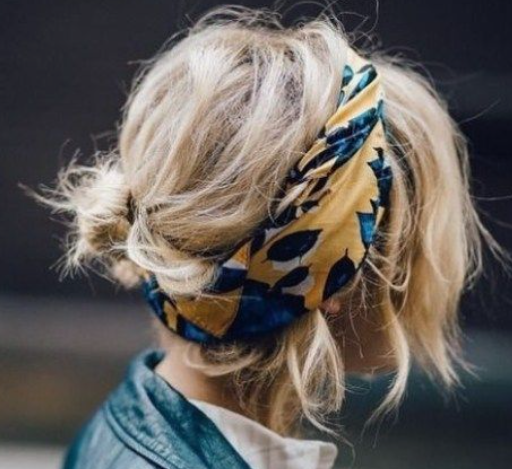 Messy Low Bun Bandana
