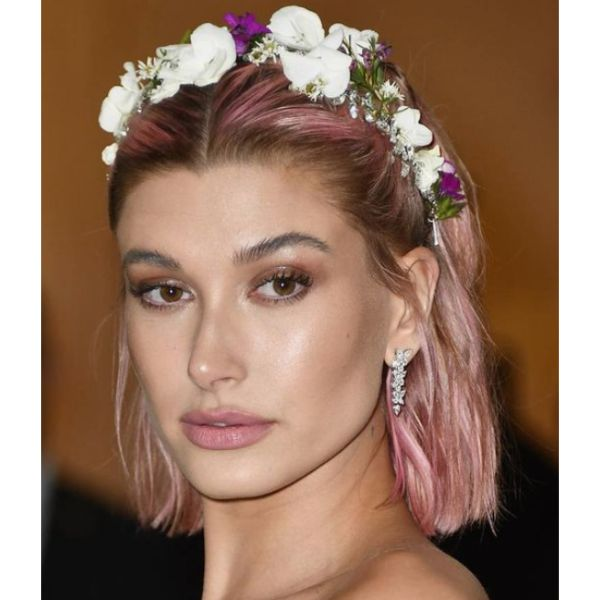Pink Short Hair Flower Crown