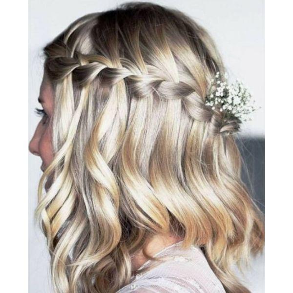 Waterfall Half Updo For Medium & Thick Hair