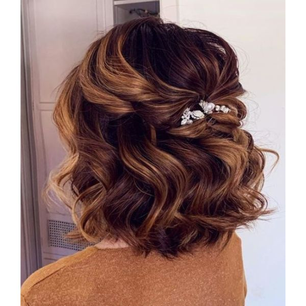 Curly Half Updo With Shiny Hair-Pin