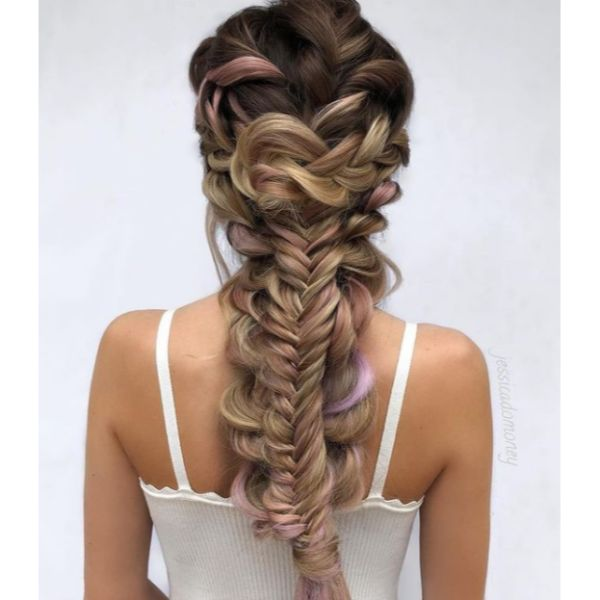 Intricate Braid With Pink Highlights