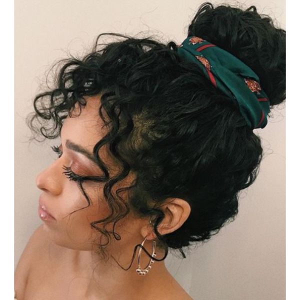 Topknot With Curls & Scarf
