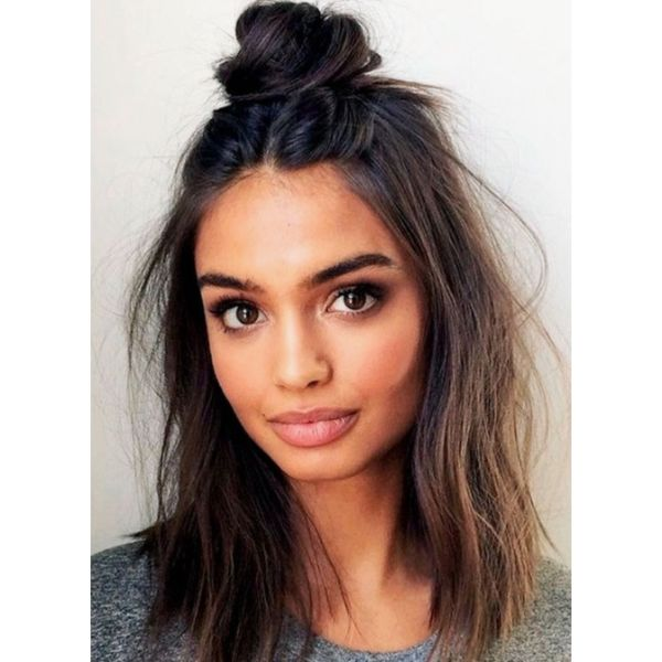 Topknot Half Updo For Thin Hair