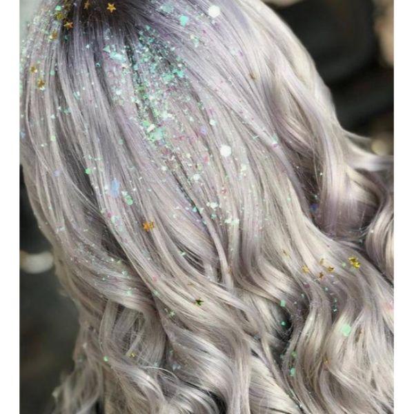 Glittery & Curly Hair
