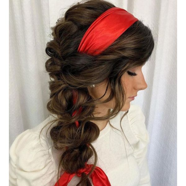 Side Braid With Scarf