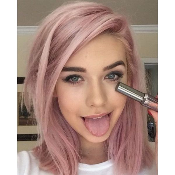 Pastel Pink Lob With Side Parting