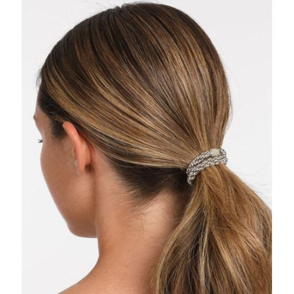 Low Ponytail With Statement Hair-Tie