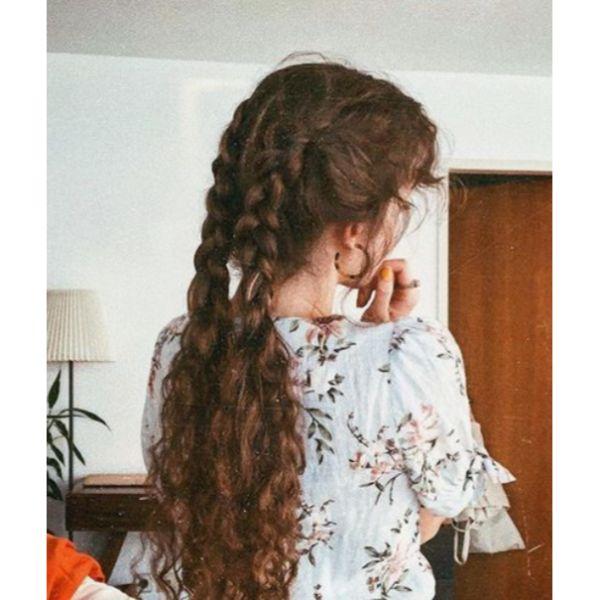 Half-loose Curly Braids