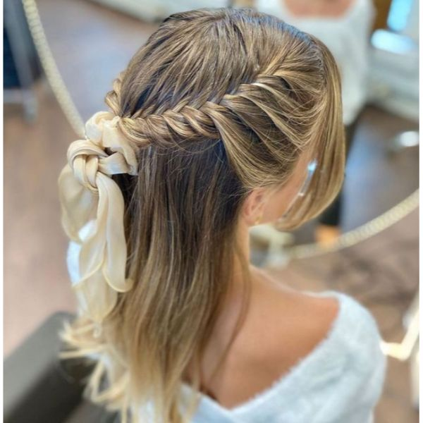 Braided Bow Half Updo For Thin Hair