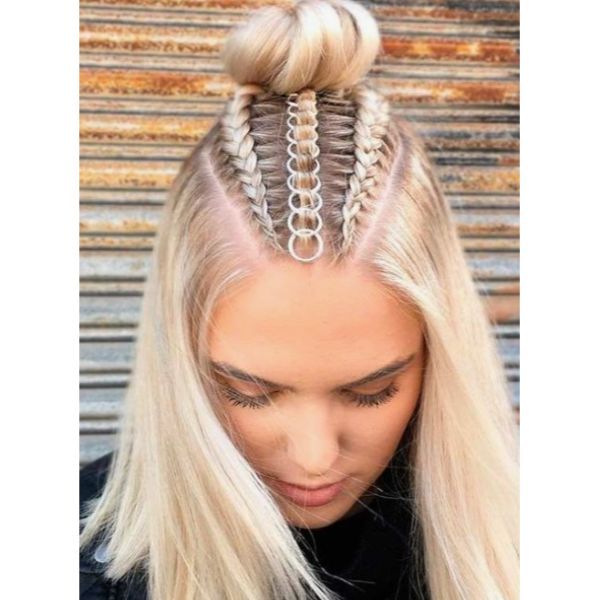 Edgy Half Updo With Hair Rings