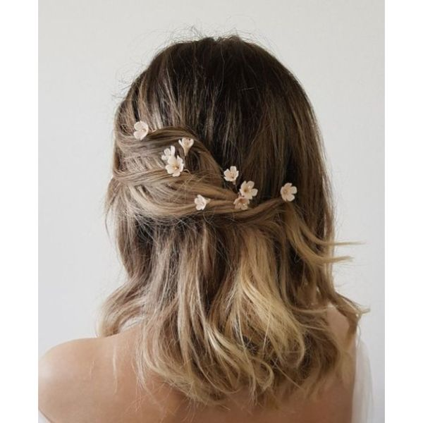Flower Embellished Look For Medium, Thick Hair