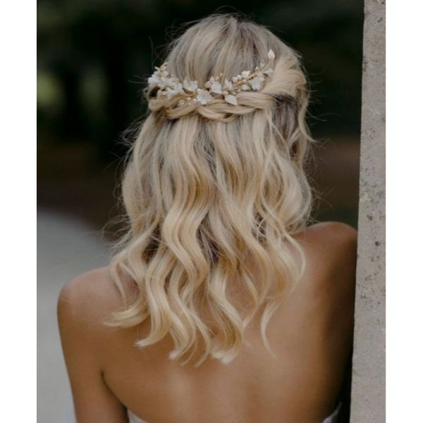 Braided Down-Do With Statement Hairpiece