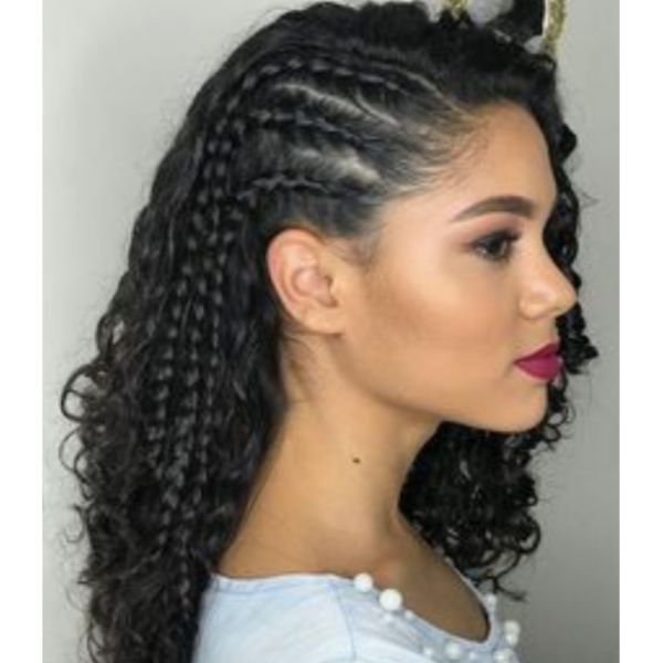 Curly Hair With Thin Side Braids
