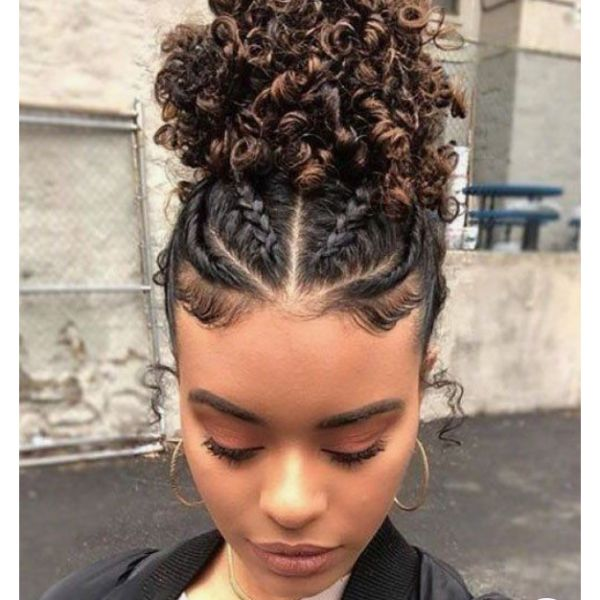 Spunky Updo With Thin Braids