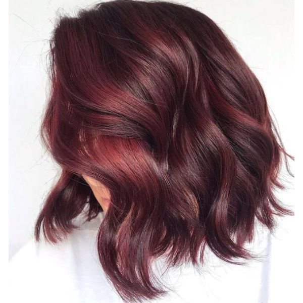 Chocolate-Cherry Lob For Thin Hair