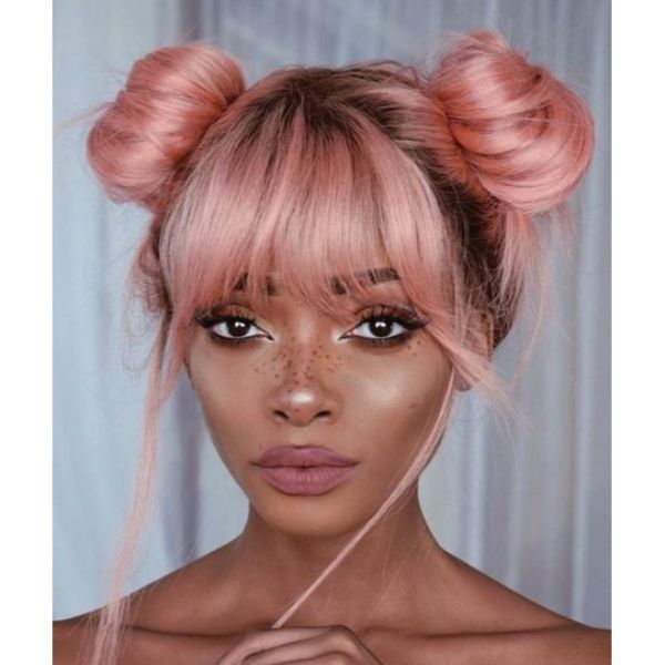 Space Buns & Bangs For Thick Hair