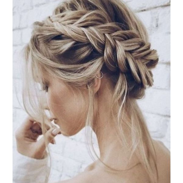 Messy Braided Crown For Thick Hair