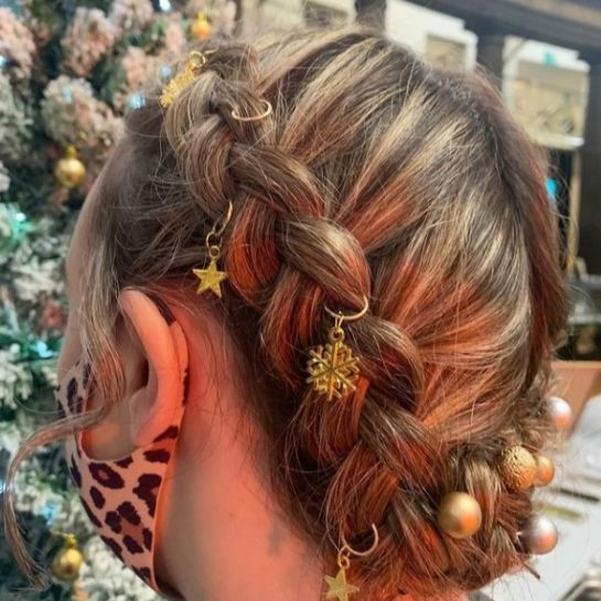 Braided Crown With Festive Hair Rings