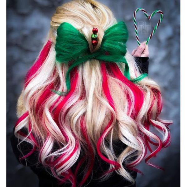 Candy Cane Bow Half Updo