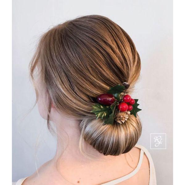 DIY Christmas Holly Low Bun