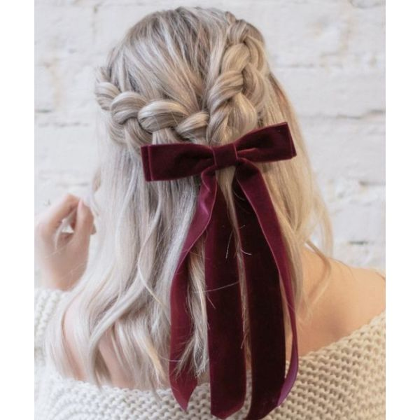 Bow & Braided Crown Half Updo
