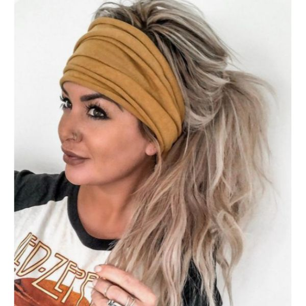 Messy High Ponytail With Cozy Headband