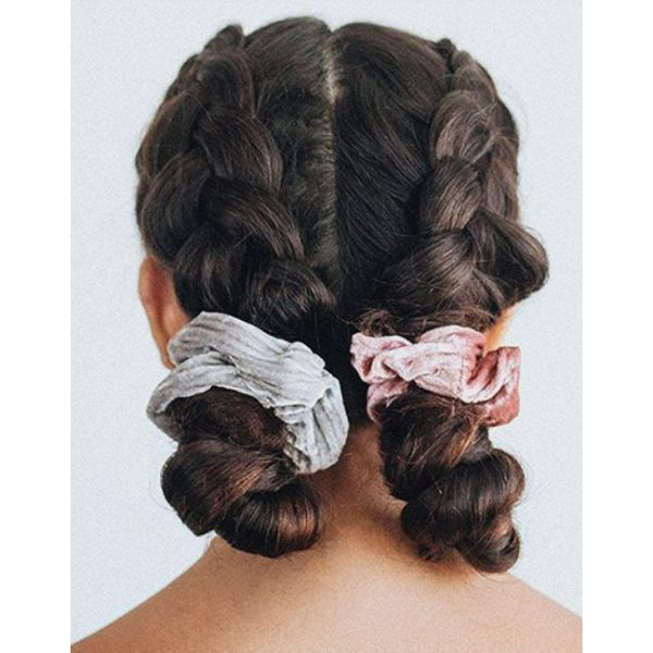 Low Braided Buns With Scrunchies