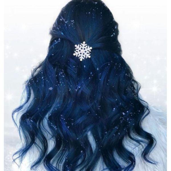 Dark-Blue Snowflake Half Updo