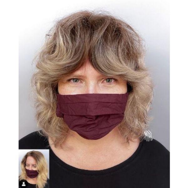 Ashy Blonde Medium Shag With Full Bangs