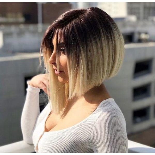 Asymmetric Blonde Medium Bob Haircut With Dark Roots