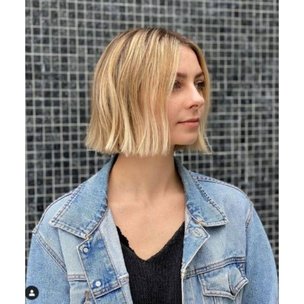 Blonde Blunt Cut Bob With Straight Bangs