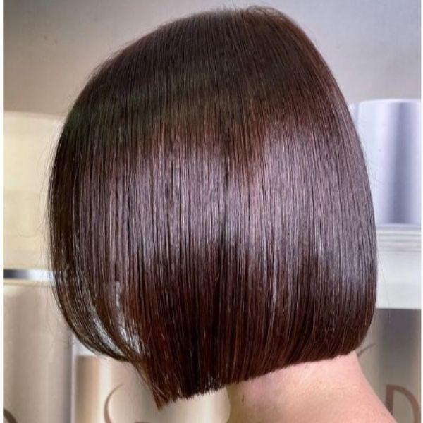 Chestnut Brown Shiny Medium Bob Haircut