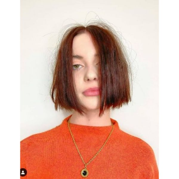 Chin Length Bob With Messy Styling