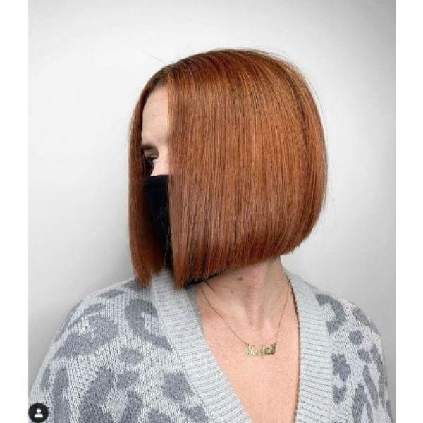 Cinnamon Red Medium Bob Hairstyle