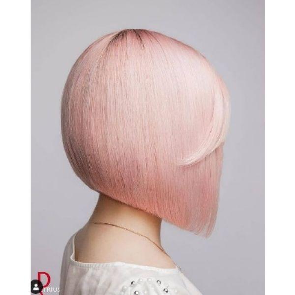 Cotton Pink Medium Bob Haircut