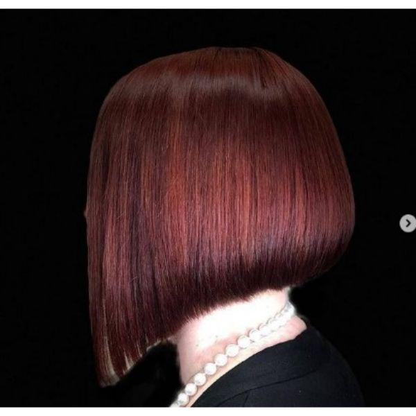 Dark Red Medium Bob Haircut