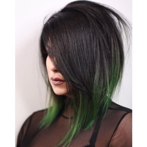 Edgy Glam Bob With Green Long Wings