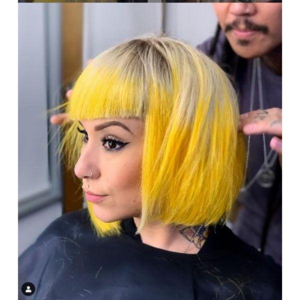 Illuminating Yellow Medium Straight Bob Haircut With Straight Bangs
