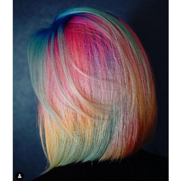 Iridiscent Rainbow Bob Haircut
