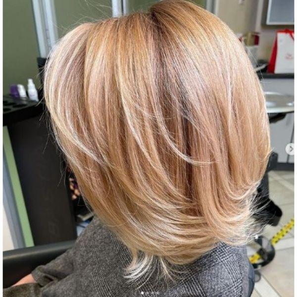 Medium Long Warm Blonde Bob With Soft Layers