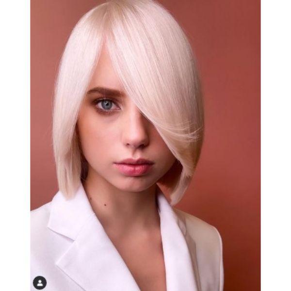 Medium Straight Blonde Bob Haircut
