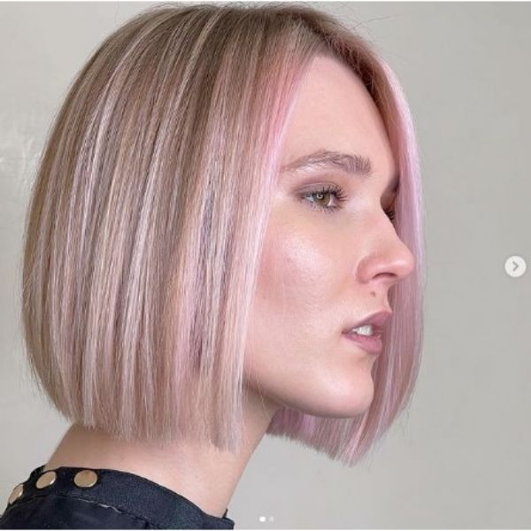Medium Straight Blonde Bob With Pastel Pink Front Highlights