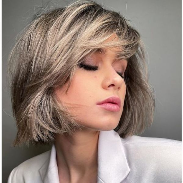 Messy Balayage Blonde Bob With Bangs