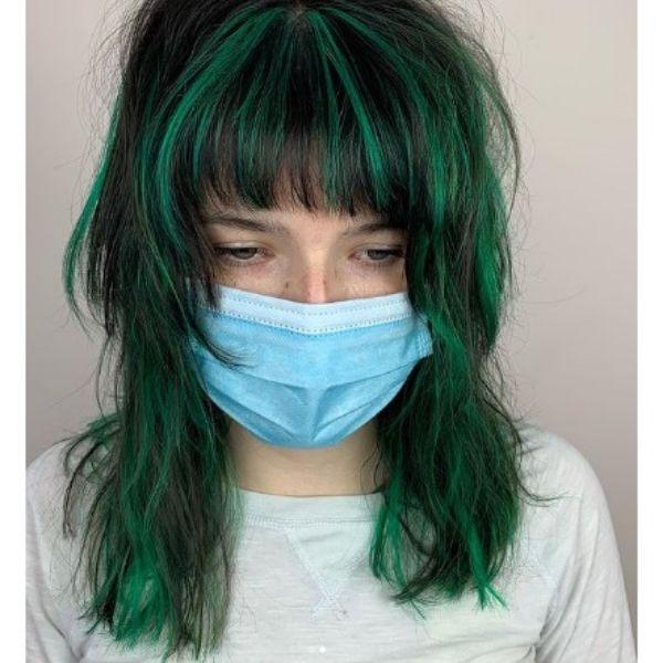 Modern Dark Green Shag Haircut With Straight Bangs
