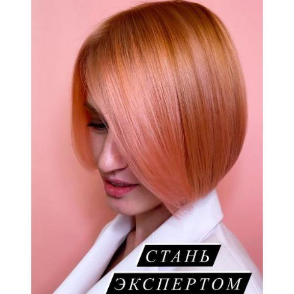 Peachy Pink Medium Bob Haircut