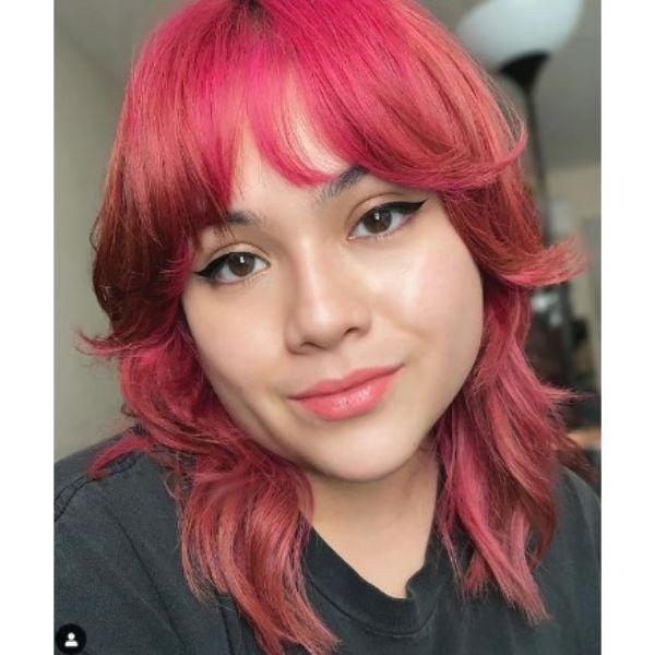 Pink Magenta Medium Shag Haircut With Straight Bangs
