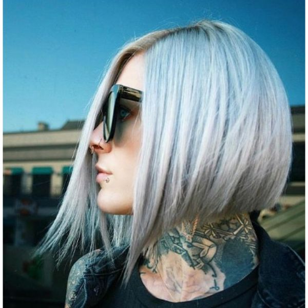 Platinum Blonde Bob Haircut