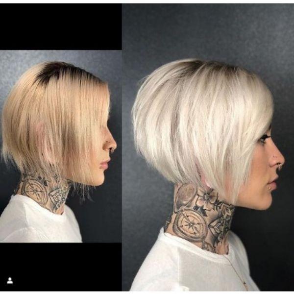 Platinum Blonde Straight Bob With Undercut Haircut