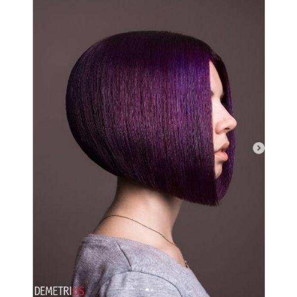 Purple Sleek Medium Bob Haircut