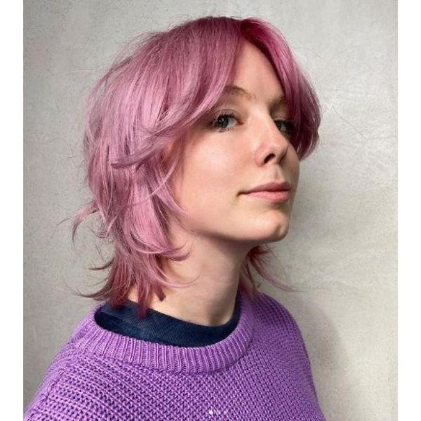 Shiny Pink Medium Shag With Straight Bangs